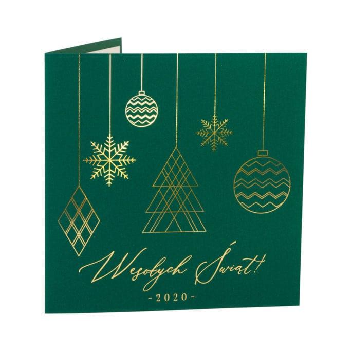 Kartka świąteczna zielona okładka ze złoconymi bombkami