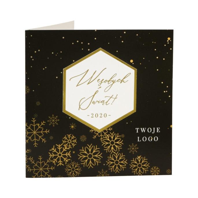 Kartki świąteczne złocone geometryczne biznesowe