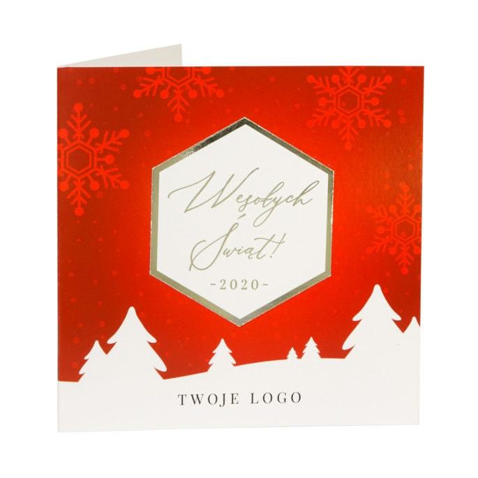 Kartki świąteczne firmowe czerwone srebrzone