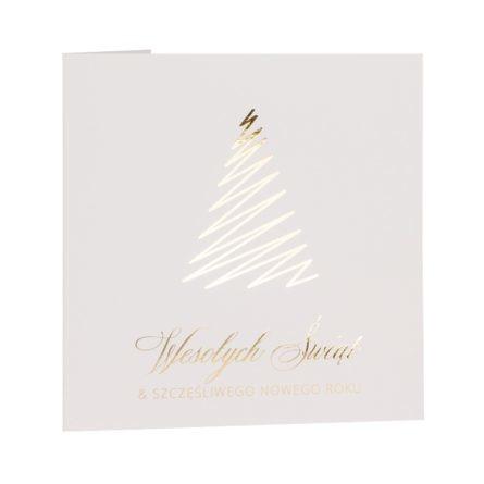 Kartka świąteczna biznesowa biała ze złoceniem