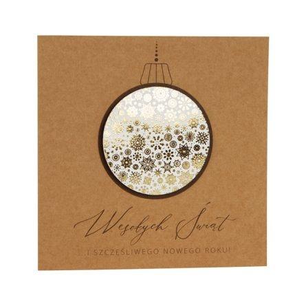 Kartka świąteczna biznesowa firmowa eko ekologiczna ze złoceniem bombka