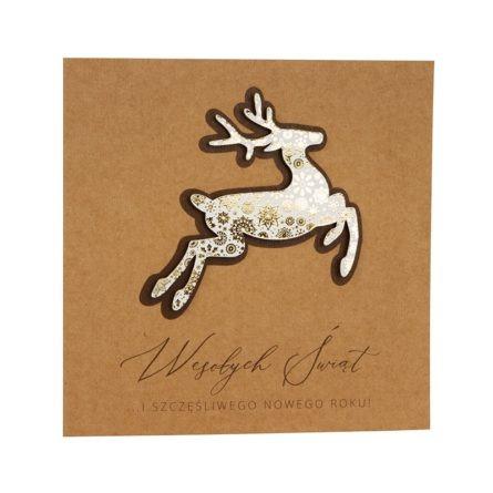 Kartka świąteczna biznesowa firmowa eko ekologiczna ze złoceniem renifer