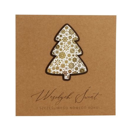 Kartka świąteczna biznesowa firmowa eko ekologiczna zezłoceniem choinka