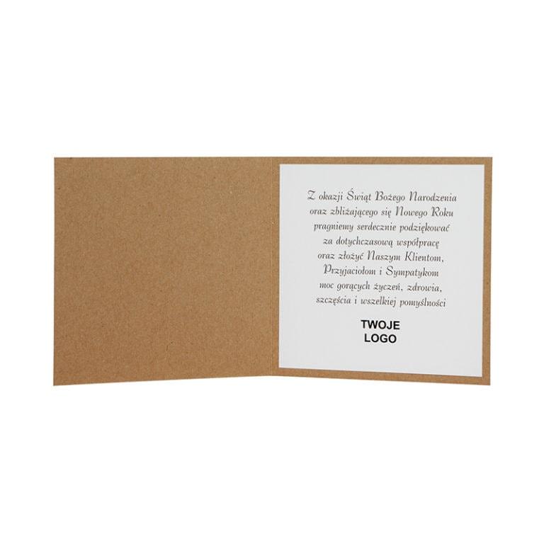 Kartka świąteczna biznesowa firmowa eko ekologiczna ze złoceniem środek tekst życzenia