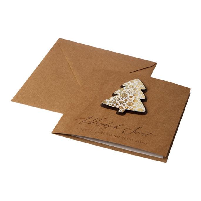 Kartka świąteczna biznesowa firmowa eko ekologiczna ze złoceniem z choinką i śnieżynkami