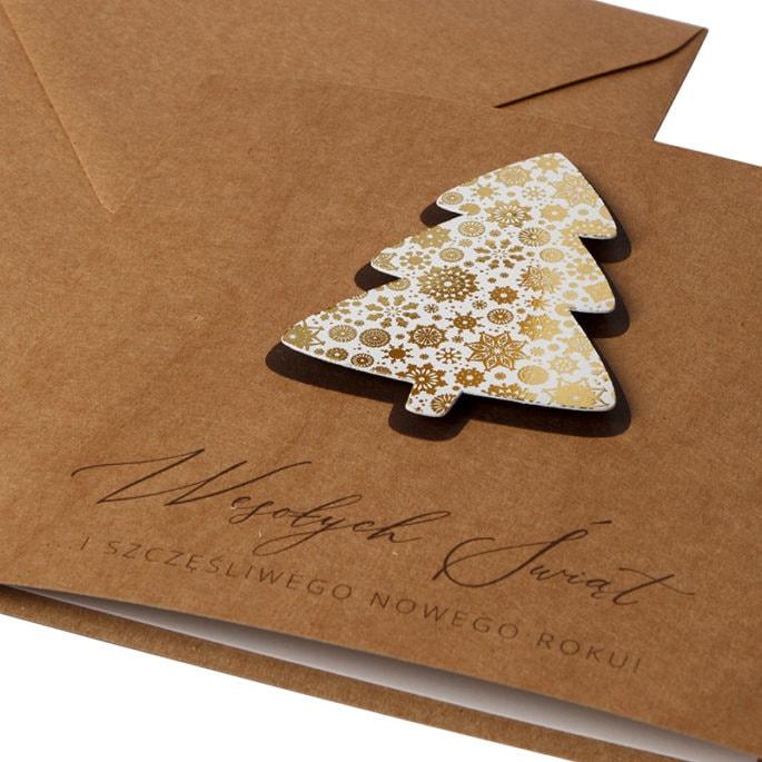 Kartka świąteczna biznesowa firmowa eko ekologiczna ze złoceniem złocona choinka