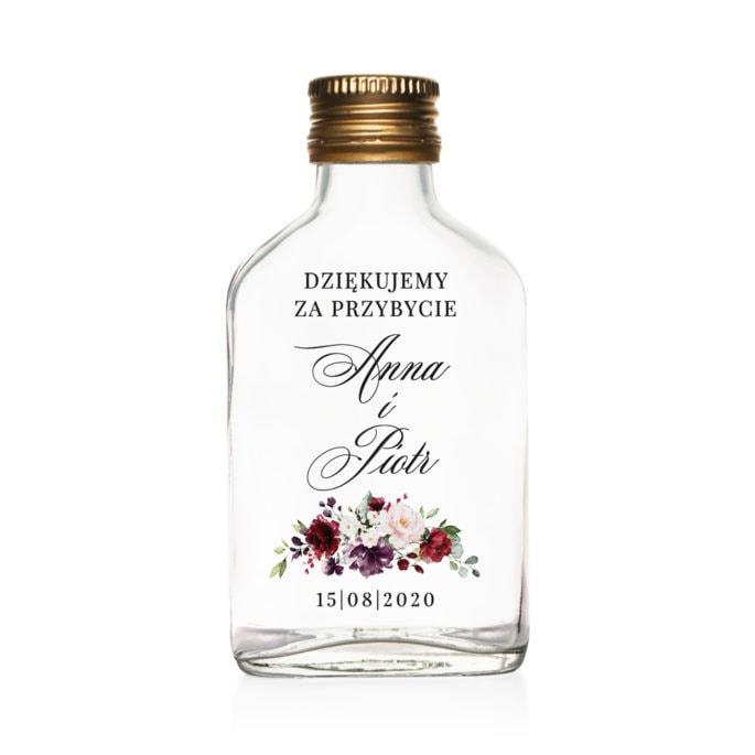 Podziękowanie dla gości weselnych szklana butelka kacówka na nalewkę z bordowymi kwiatami