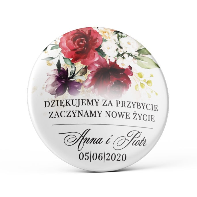 Przypinka weselna bordowe kwiaty magnes podziękowanie dla gości