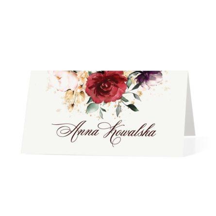 Winietka weselna na białym papierze z bordowymi kwiatami