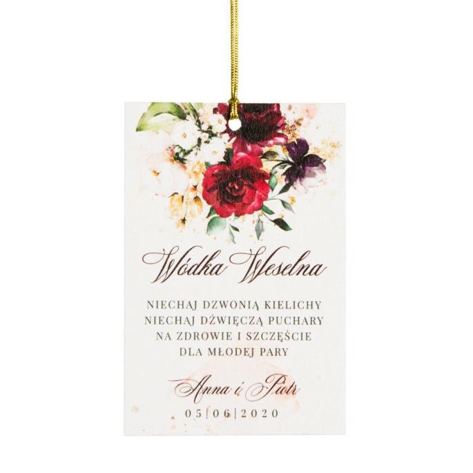Zawieszka na wódkę weselną z bordowymi kwiatami