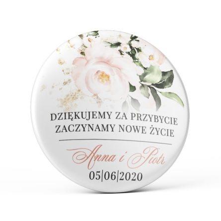 Przypinka weselna łososiowe kwiaty magnes podziękowanie dla gości weselnych