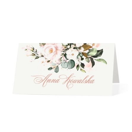 Winietka weselna na stół z kwiatami w kolorach łososiowych