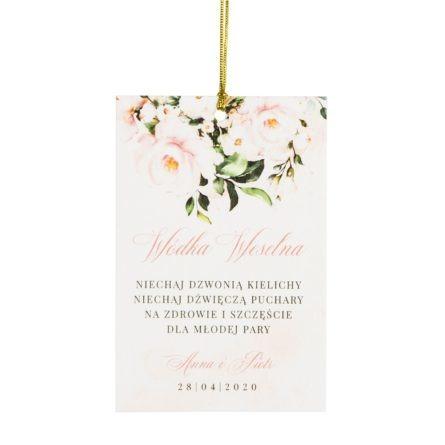 Zawieszka weselna na stół z kwiatami w kolorze łososiowym