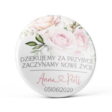 Przypinka magnes różowe róże podziękowanie dla gości weselnych