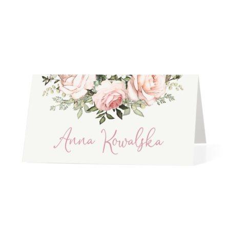 Winietka weselna na stół z kwiatami różowych róż