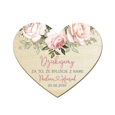 Podziękowanie dla gości weselnych drewniany magnes zróżowymi różami