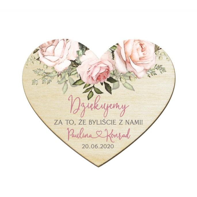 Podziękowanie dla gości weselnych drewniany magnes z różowymi różami