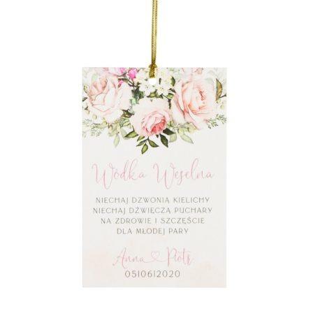 Zawieszka na bimber weselny z kwiatami różowych róż