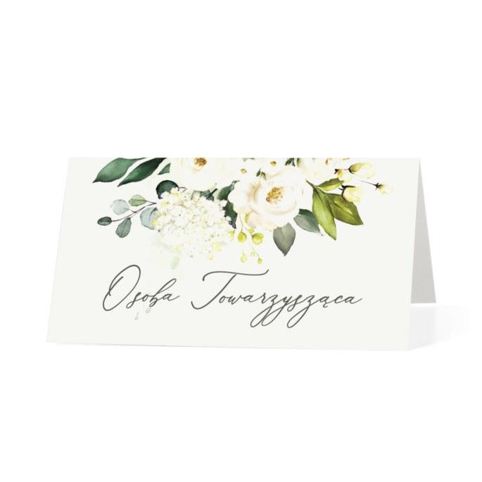 Winietka weselna na stół z motywem kwiatów w kolorach zieleni i bieli
