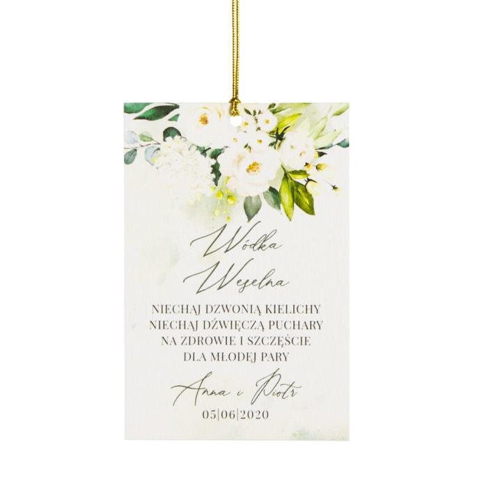 Zawieszka na wódkę weselną z białymi i zielonymi kwiatami