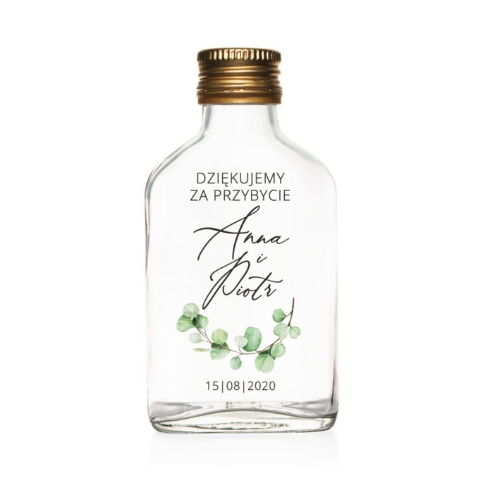 Podziękowanie dla gości weselnych szklana butelka kacówka na nalewkę z eukaliptusem