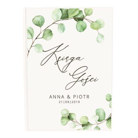 Księga gości na wpisy i życzenia weselna z liśćmi eukaliptusa