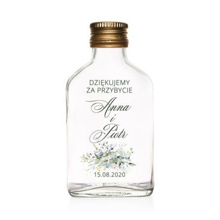 Podziękowanie dla gości weselnych szklana butelka kacówka na nalewkę z zielonymi gałązkami