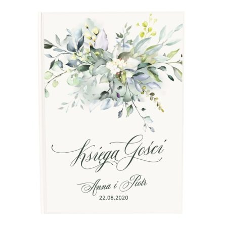 Księga dla gości weselnych z zielonymi kwiatami
