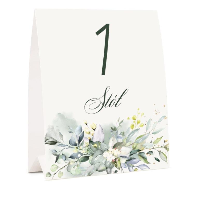Numer na stół weselny z dowolnym tekstem wzór kwiatowy