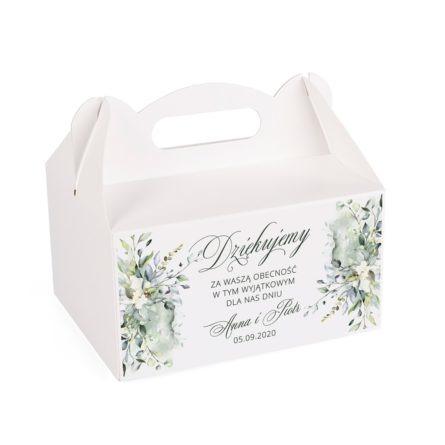 Pudełko na ciasto weselne z zielonymi listkami