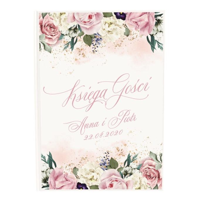 Księga gości weselnych z kwiatami w kolorach różowych
