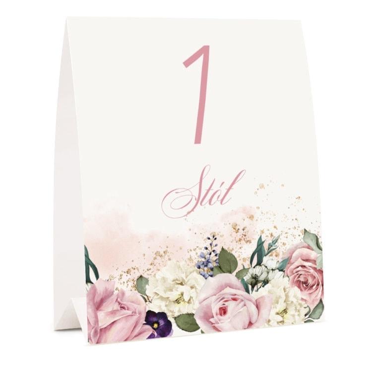 Kwiatowy numer na stoł weselny z dowolnym tekstem