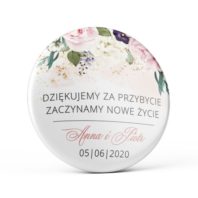 Przypinka weselna z pastelowymi różowymi kwiatami różami magnes podziękowanie dla gości weselnych
