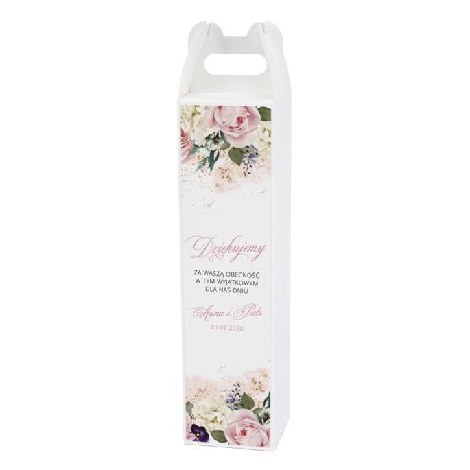 Pudełko na alkohol z różowymi kwiatami
