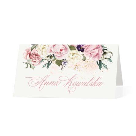 Winietka weselna na stół z kwiatami w kolorach różu