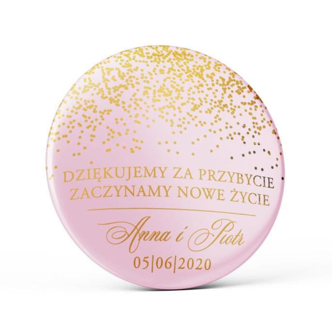 Przypinka weselna różowa ze złoceniem pink sparkle magnes podziękowanie dla gości weselnych