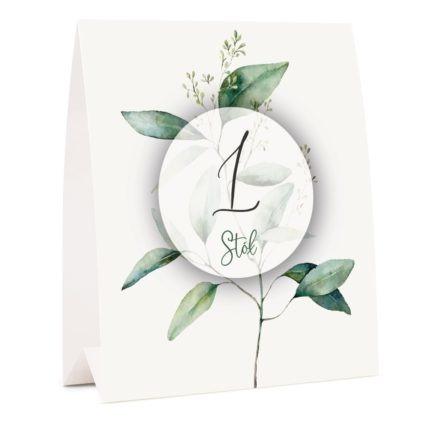Numer na stół weselny z liściem eukaliptusa