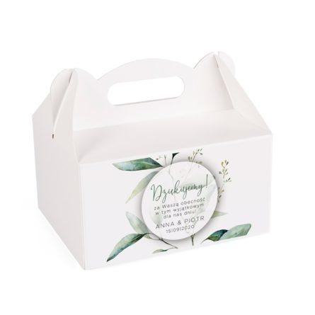 Pudełko na ciasto weselne z listkiem eukaliptusa