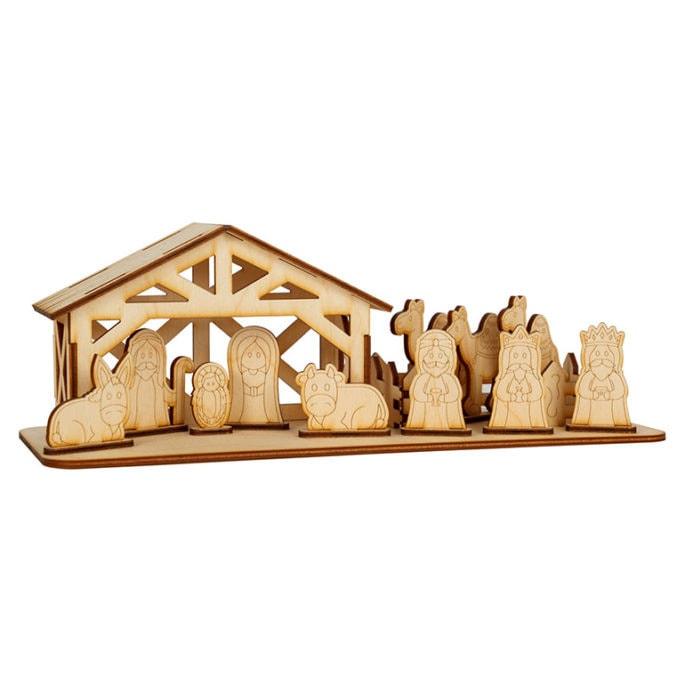Drewniana szopka bożonarodzeniowa do dekoracji