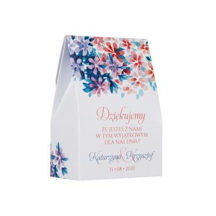 Pudełko na słodkości dla gości weselnych w motywie florals z kwiatami