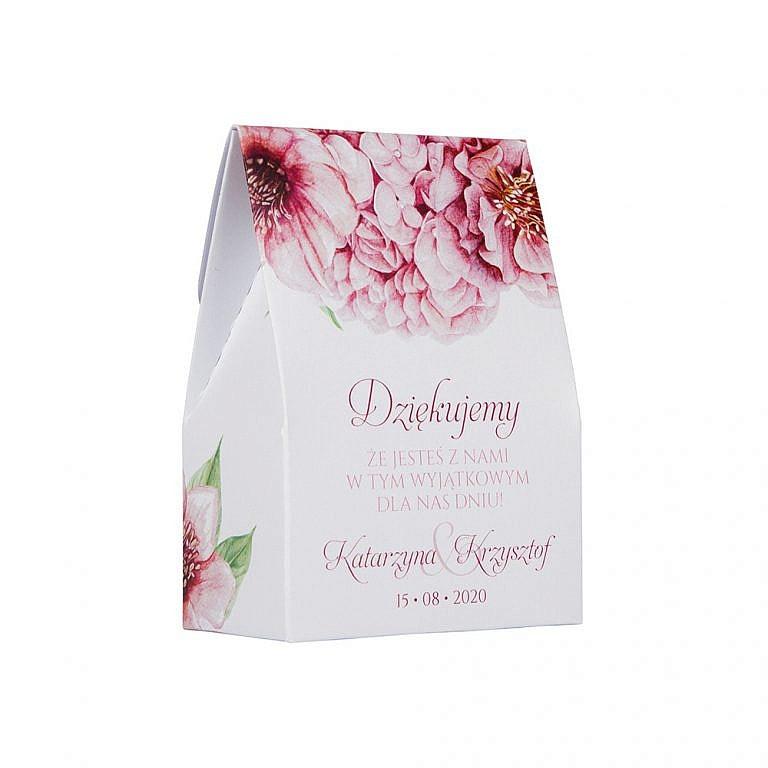 Pudełko na słodkości dla gości weselnych podziękowanie z kwiatami floras w7