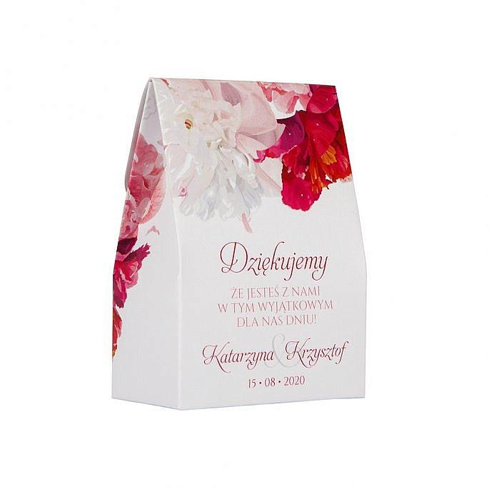 Pudełko na cukierki dla gości weselnych z kwiatami piwonii