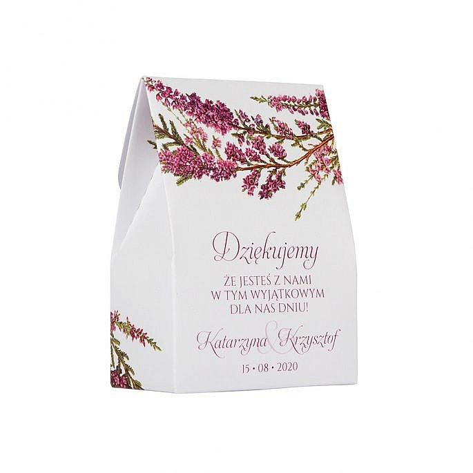 Pudełko na słodkości dla gości weselnych z nadrukiem wrzosów
