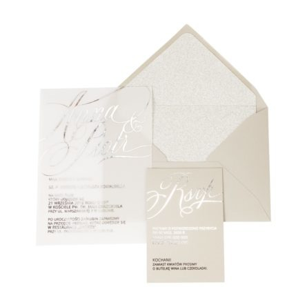 zaproszenia ślubne zesrebrzeniem ibrokatową kopertą