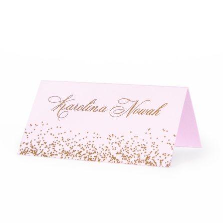 Winietka na stół weselny ze złoconym tekstem i kropkami glamour
