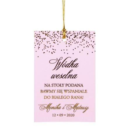 zawieszka na alkohol weselny z różowego papieru